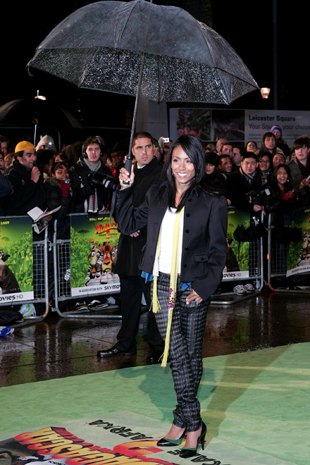 Jada Pinkett-Smith under an umbrella at Israel premiere of Madagascar Escape 2 Africa