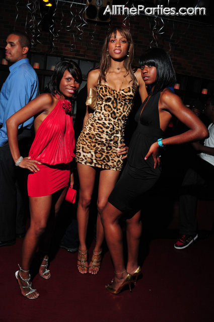 very tall chick at Mario Winans birthday party