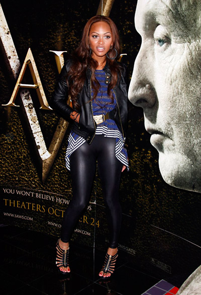 Meagan Good bow-legged at Saw V premiere at the Mann's Chinese Theater
