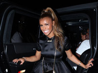 Melody Thornton steps out of limo at her 24th birthday party