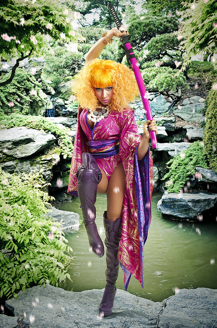 Nicki Minaj, wearing a pink kimono and drawing a sword - Samurai Nicki