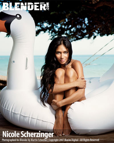 Nicole Scherzinger - Blender Magazine - on a blow up swan