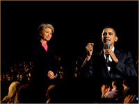 Barack Obama and Hillary Clinton on a photoshopped Hollwood stage
