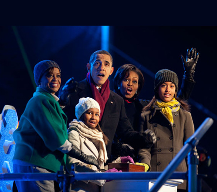 The Obamas celebrating the Holidays at the White House, early December