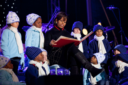 Michelle Obama reading holiday stories to kids at the White House