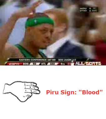 Paul Pierce flashing gang sign?