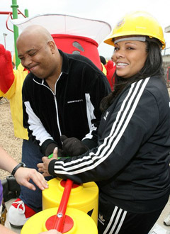 Rev Run and Justine at  Kool Aid KaBOOM! Event