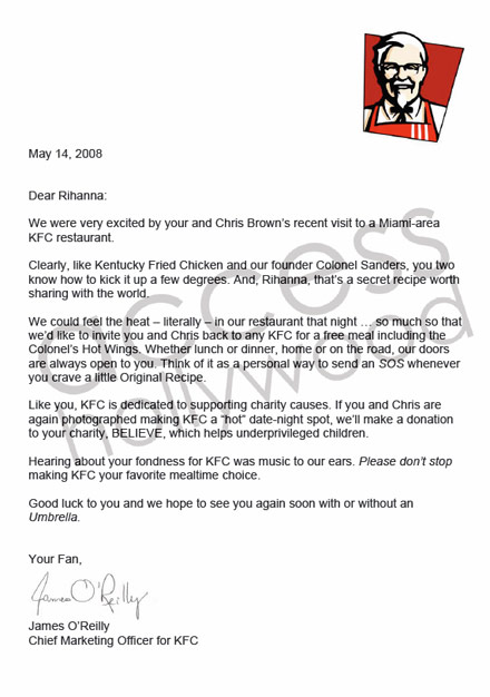 KFC's thank you letter to Rihanna and Chris Brown
