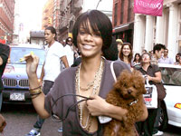 Rihanna and her little dog DJ in Soho