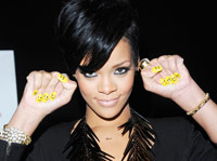 Rihanna Shows off her Yellow Smiley Nails