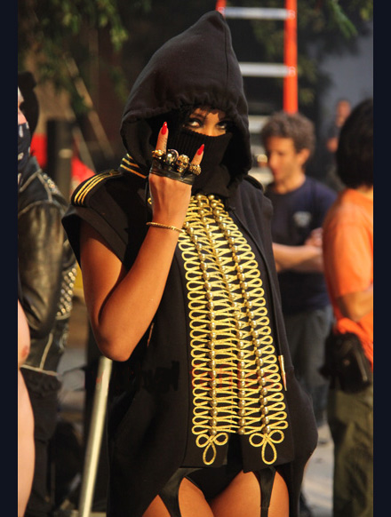 Rihanna dressed like a ninja in We Run This video shoot
