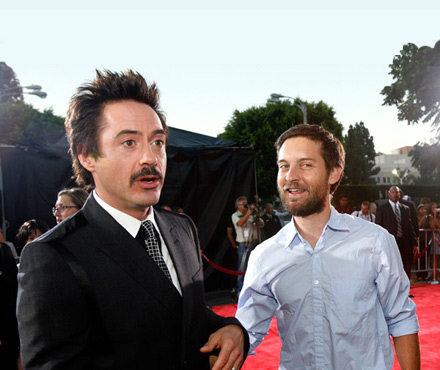 Robert Downey Jr. and Tobey McGuire at the Tropic Thunder premiere