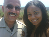Sanaa Lathan and San Diego cop