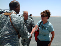 Sarah Palin meets Alaskan National Guard Troops in Kuwait