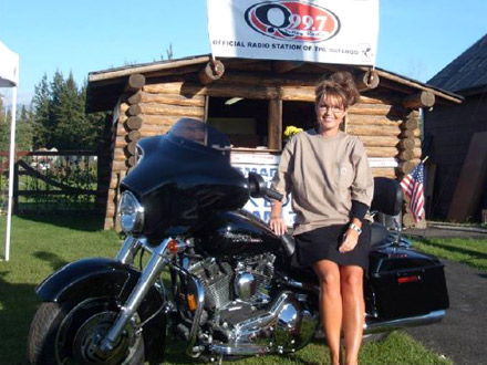 Sarah Palin on a Harley