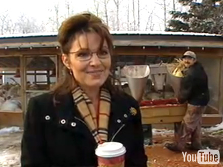 Sarah Palin interviewed at turkey house in Wasilla