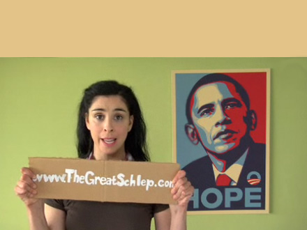 Sarah Silverman schleping for Barack Obama