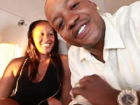 Steve Francis and his wife Shelby in a private jet