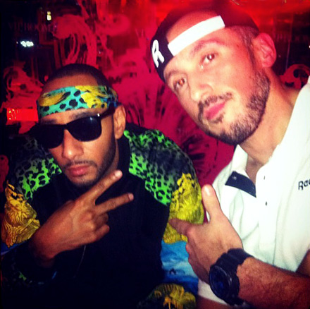 Swizz Beatz and DJ Dirty Swift in Paris at a Reebok event