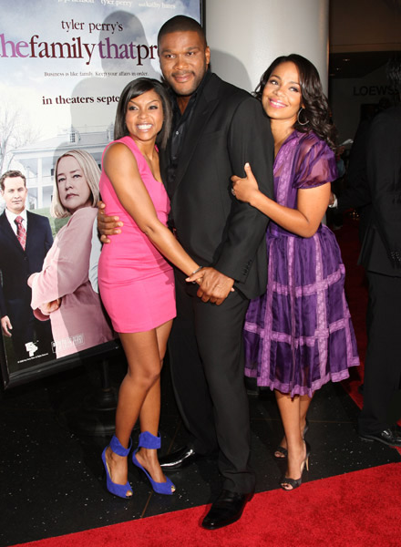 Tyler Perry, Taraji Henson, and Sanaa Lathan at The Family That Preys premiere