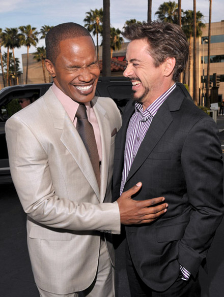 Jamie Foxx and Robert Downey Jr at The Soloist premiere
