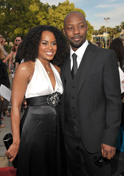 Nelsan Ellis and friend at The Soloist premiere