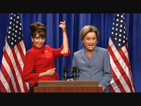 Tina Fey strikes a hunter's pose as Sarah Palin on SNL