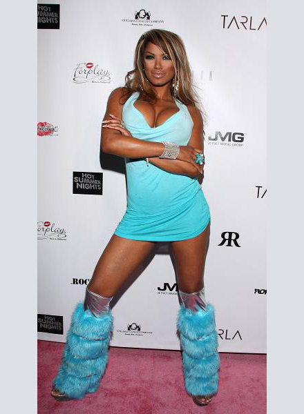 Traci Bingham in light blue space boots at Playboy Mansion's Hot Summer Nights Party