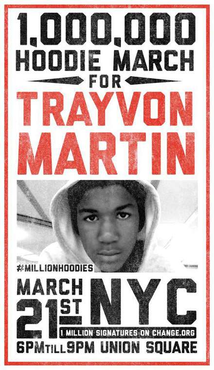 1,000,000 Hoodie March for Trayvon Martin flyer