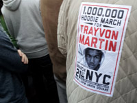Trayvon Martin sticker on man's jacket