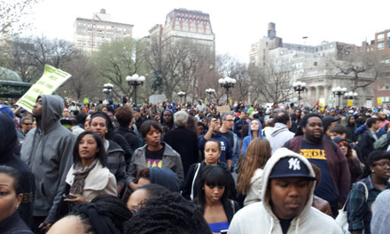 crowd beginning to march for Trayvon Martin in Union Square