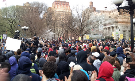 The crowd for Trayvon Martin in Union Square