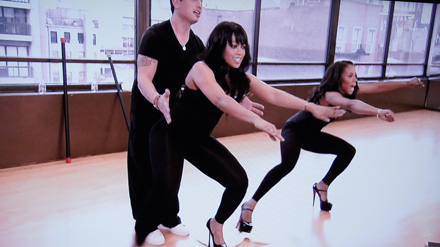Trina and June Ambrose giving their thighs a stiletto workout