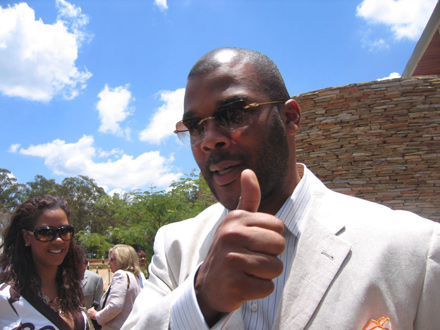 Tyler Perry gives a thumbs up