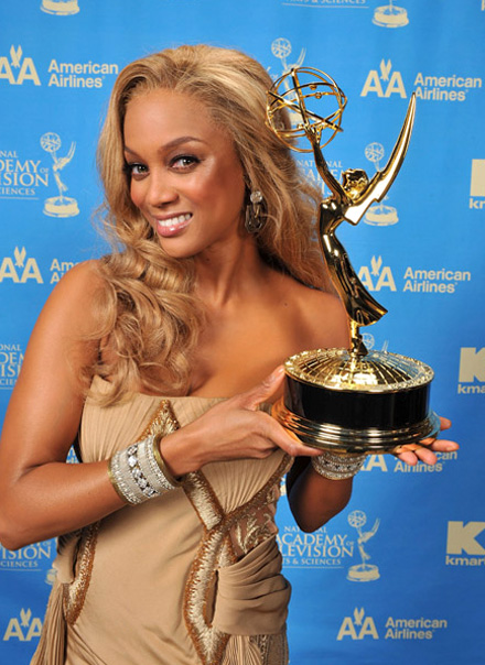 Tyra Banks smiles with her first ever 2008 Emmy Award