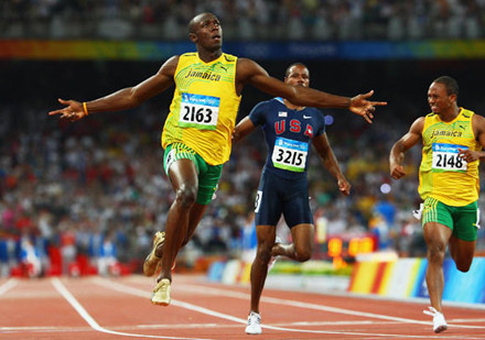 Usain Bolt wins 200 Meter relay