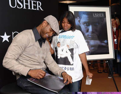 Usher fan cries in delight
