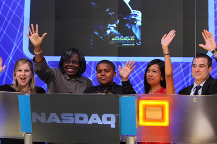 Voletta Wallace and Christopher Wallace Jr. at NASDAQ