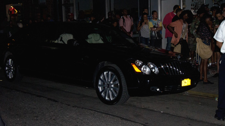 Jay-Z's Maybach outside the Watch the Throne pop-up store