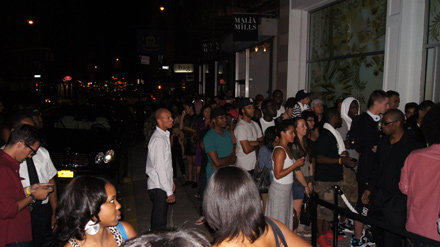 Crowd outside the Watch the Throne pop-up store