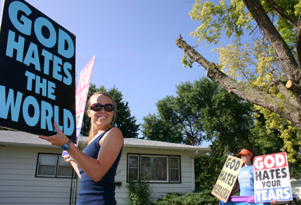 Westboro Baptist Church protest - looking like Mariah Carey in disguise