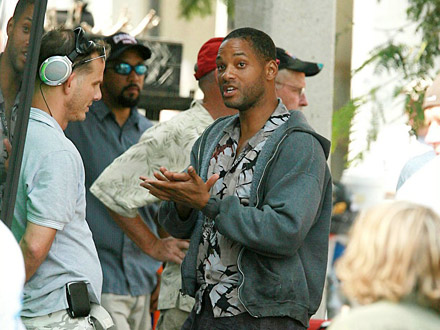 Will Smith on Hancock set