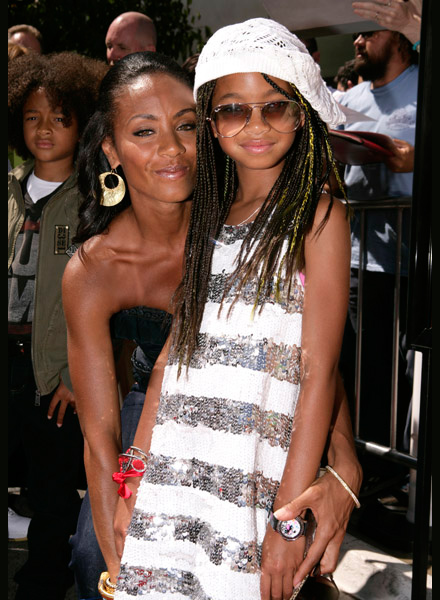 Jada Pinkett-Smith and Willow Smith at Hancock premiere